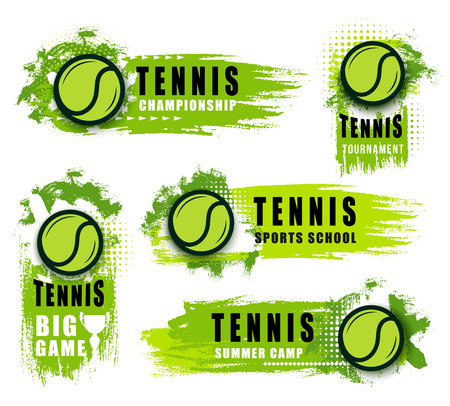 Tenisowy klub sportowy lub mistrzostwa gry wektorowe ikony. Wektor na białym tle etykiety i odznaki latający zieloną piłkę i plamy. Artykuły sportowe w ogłoszeniu turnieju, szkoła tenisa