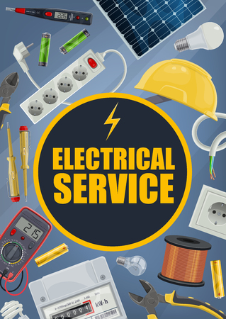 Electrician service, electrical equipment and tools. Vector plug and socket, helmet and solar battery, wire coil and voltmeter, screwdriver and pliers, light bulbs. Electric wiring repair