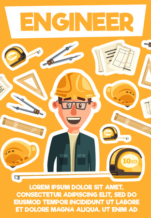 Engineer or architector profession. Building construction or housing project. Vector cartoon engineer man in safety hat with work tools. Rulers and crane, tape measure or compasses, scheme draft Vectores