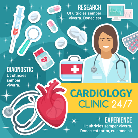 Cardiology research, experience and diagnostics medicine. Cardio clinic vector brochure, cardiologist doctor, cardiac icons. Stethoscope and heart, medical kit pills, syringe and magnifier