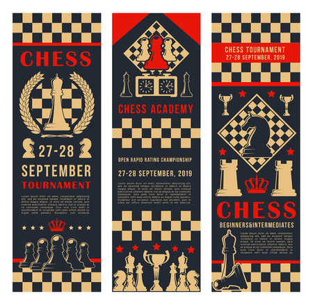 Chess club vector banners of chessboard and chessmen game pieces. King and queen, rook or pawn and knight bishop. Intellectual sport championship or tournament and contest announcement