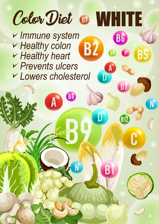 Color diet white day, vitamins A, B, C. Vector coconut and mushrooms, garlic, nuts, radish and ginger, cabbage veggie. Dieting fruits and vegetables, detoxification diet improving immune system Ilustração