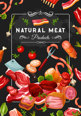 Natural meat products, vegetables and kitchen utensil. Butcher shop steaks, wurst and pork, bacon and sausages, chicken and schnitzel in vector. Tenderloin and red pepper, tomato and green onion