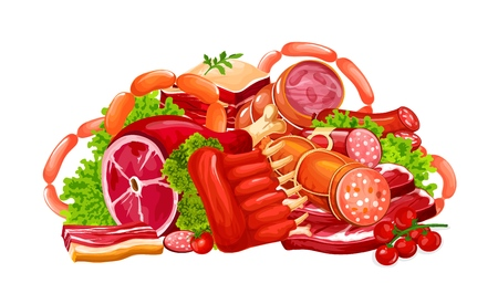 Meat and sausages, butchery farm products. Vector pork bacon, beef brisket or steak and mutton ribs with ham and pepperoni or cervelat. Butcher shop or cooking design
