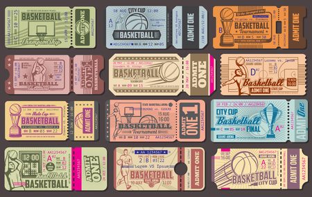 Basketball championship retro admission tickets. Sport item and sportsman in uniform throwing ball into basket, gold cup and score, arena stadium. World sporting tournament vintage admit tickets