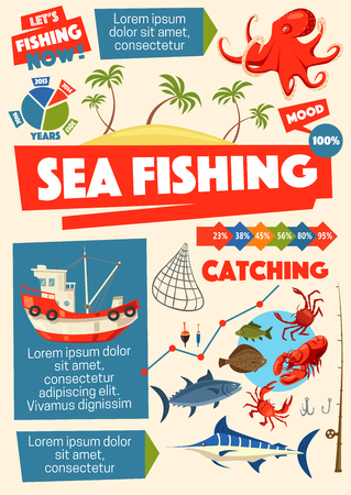 Fishing sport, sea fish and fishers ship. Octopus and perch, pipefish and crab, lobster and flounder, rod and bait, hook and net. Fishery equipment and island with tropical palms, vector Illustration
