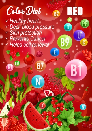 Detox color diet poster, red fruits and vegetables or berry day. Vector vatermelon and tomato, chili pepper and pomegranate, strawberry and marakuya. Proper nutrition of vitamins, vegetarian menu