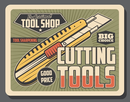 Cutting tools retro poster, construction and repairing works. Vector stationery professional knife with sharp razor. Instrument to cut, craft and repairment Illustration