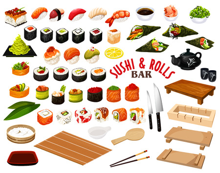 Sushi and rolls from Japanese cuisine, vector. Salmon and perch, tuna and caviar, wasabi and soy sauce, avocado and ginger, chopsticks and tray. Raw seafood ingredients with rice and seaweed Stockfoto - 112718549