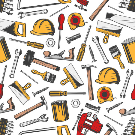 Construction and repair tools vector seamless pattern. Helmet and screwdriver, hammer and file, wrench and screw, brush or paint jar, ruler and nail. Equipment, tools and instruments texture