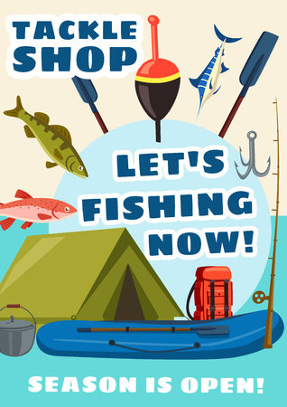 Fishing sport equipment store, tackle shop vector poster. Fish and fishery, paddles for boat, bait and hook, camping tent and backpack, rod and cattle for campfire. Mullet and pike with pipefish Çizim