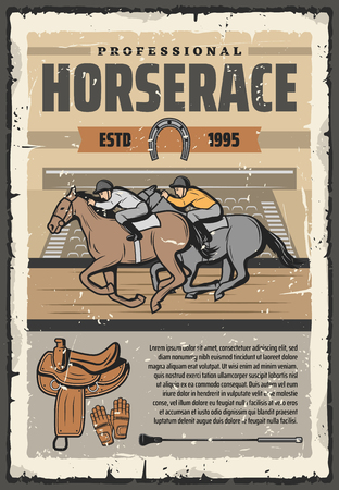 Horse racing retro vector poster, riders and stallions in saddle. Equestrian sport club or event, competition. Vintage design, jockey with stick and gloves riding back