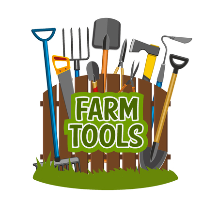 Gardening tools shop, agriculture or horticulture equipment near fence. Spade and forks, ax and shovel, hand saw and scissors, rake and hoe, pruners and trowel. Agriculture industry