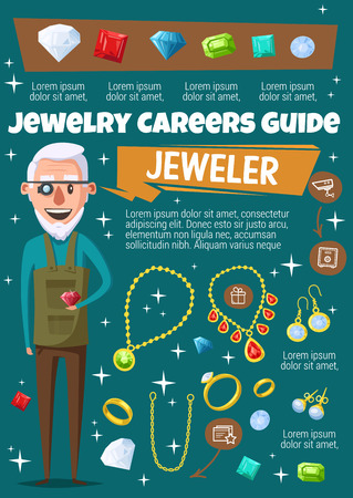 Jewelry and gemstone, jeweler profession, cartoon vector. Man with magnifier and necklace, ring and earrings, diamond and gold chain. Professional and accesories inlaid with precious stones Foto de archivo - 127343969