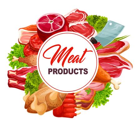 Fleischprodukte runder Rahmen, Metzgerei-Lebensmittelsymbole. Schinken und Hühnchen, Steak und Schweinefleisch, Speck und Lamm, Rippchen und Schinken, Truthahn und Lendenfilet. Fleisch auf grünen Kräutern, Küchenmesser