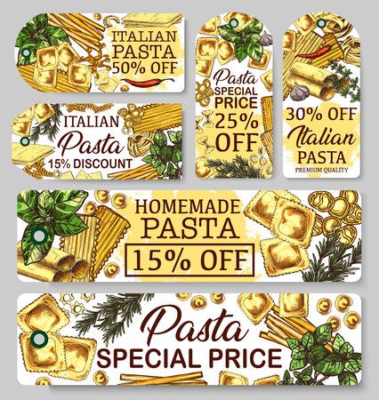 Italian pasta cuisine, sketch banners. Italy cuisine vector macaroni, lasagna or spaghetti, traditional ravioli or stelle, cannelloni and fusilli. Farfalle and fettuccine, chili pepper and basil
