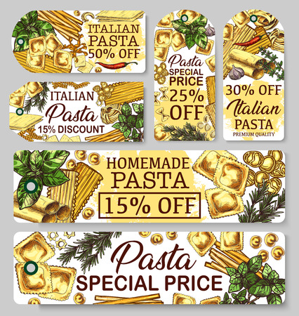 Italian pasta cuisine, sketch banners. Italy cuisine vector macaroni, lasagna or spaghetti, traditional ravioli or stelle, cannelloni and fusilli. Farfalle and fettuccine, chili pepper and basil