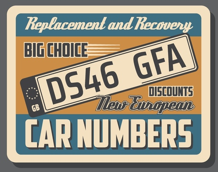 Car numbers vector retro signboard. License cards official numbers for vehicle registration. Metal sign boards automobile plates with digits and letters, car service