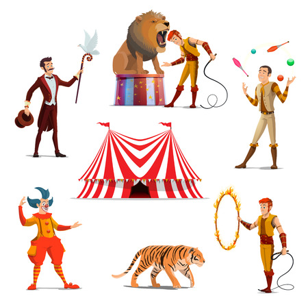 Big tent of circus with lion and trainer, magician and juggler, tiger on entertainment show. Dangerous tricks with wild animals, funfair characters vector characters. Carnival performance in circus