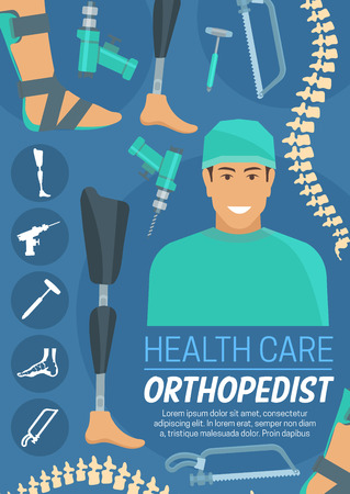 Orthopedist doctor, medicine and health care. Vector skeleton and prosthesis, bandage and drill, saw and hammer. Treatment and therapy for broken bones and injuries, hospital medical service Illustration