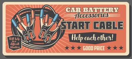 Car maintenance service retro poster, star cable and battery. Vehicle repair work and transport maintenance. Internal and external parts, electrical appliance. Vector design