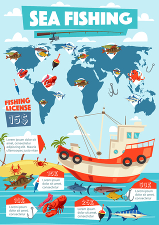 Sea fishing sport tours and fishery infographic. Vector marlin and catfish, squid and carp, bass and lobster, hook and bait, octopus and salmon graphs. Rod and ship boat near island, outdoor activity