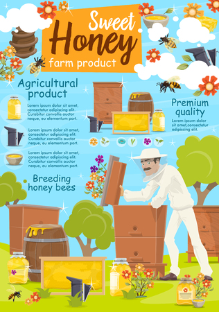 Beekeeping poster for apiary and beekeeper. Man taking honey from beehive with bees swarm flying around on beekeeping farm. Jars and barrels or honeycombs on grass field, flowers with pollen vector Illustration