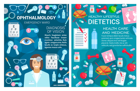 Ophthalmology and dietetics, doctors and medical tools. Vector eye and lens, drops and glasses, magnifier and scalpel, burger and apple, water and scales, pills and vitamins, dumbbell and prescription