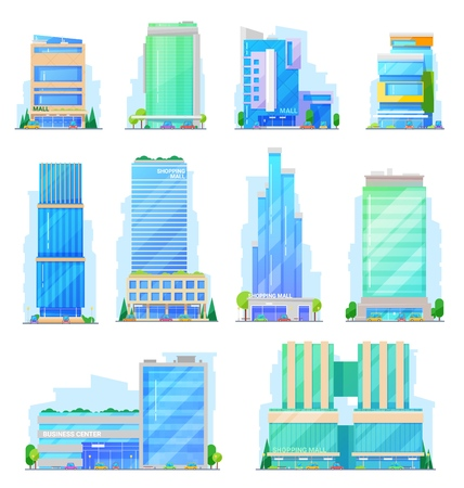 Shopping mall glass multi-storey buildings, store and mart vector icons. Facades of business center, modern skyscraper and store constructions, office buildings, retail shops and mart