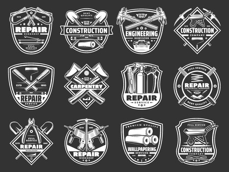 Home repair and construction tools, service and handyman workshop icons. Vector symbols of carpentry hammer, woodwork drill and plane grinder or painting brush and decor wallpapers Çizim