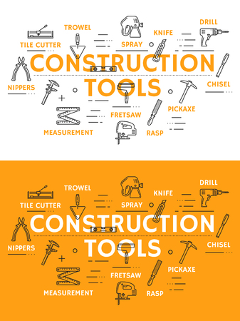 Construction tools line art posters with outline icons. Tile cutter and trowel, spray and knife, drill and chisel, pickaxe and rasp, fret saw and measurement, nippers. Instruments for building vector