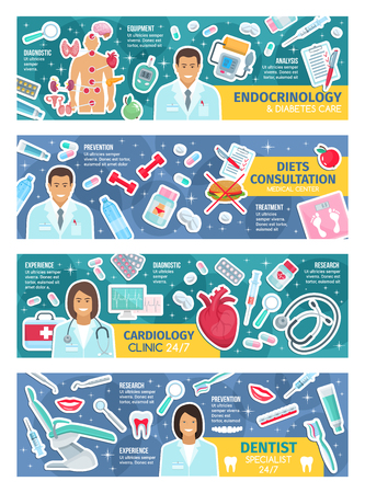 Medicine posters specialists in nutrition and endocrinology, cardiology and dentistry. Endocrinologist and diabetes care, diets consultation doctor. Cardiologist and dentist, pills and tools vector