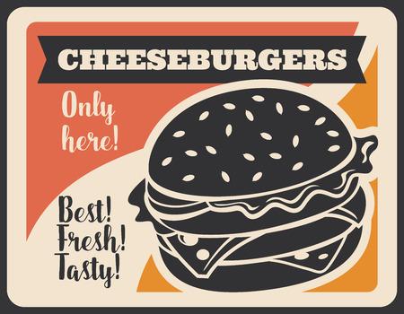 Cheeseburgery w retro plakat kawiarni lub restauracji fast food. Burger z kotletem serowym i mięsnym, liśćmi sałaty i sylwetką kok na wzór ulotki. Posiłek lub danie z ulicznego jedzenia z wektora bistro Ilustracje wektorowe