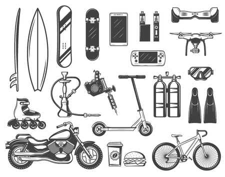 Hobby and entertainment items vector icons. Surfboard and skateboard, smartphone and game, vape . Quadrocopter and diving equipment, tattoo machine and hookah, motorbike
