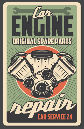 Car auto repair service retro poster. Vector vintage design of engine motor and original automobile spare parts shop or mechanic garage. Transport renovation and restoration, wrench tool