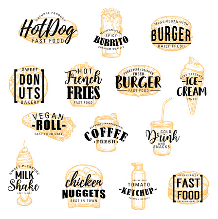 Fast food sketch icons with lettering. Hot dog and burrito, donut and burger, french fries and ice cream, vegan roll and coffee, drink and milk shake. Chicken nuggets and ketchup, takeaway meal vector