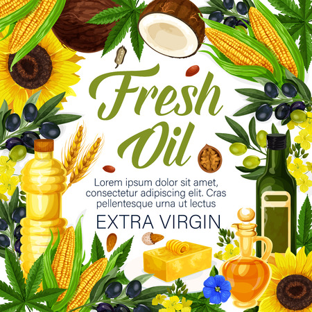 Fresh oil of extra virgin poster for farmer market products. Vector of olive, sunflower seed or coconut and flax or corn, wheat and hemp oil in plastic and glass bottles for natural organic food Illustration