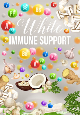 Color detox diet poster of white food day for immune support. Coconut and ginger, mushroom and garlic, celery and beans. Proper dietary nutrition with B, A and N vitamins for strong health vector