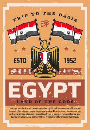 Egypt travel, flag and emblem, coat of arms with hawk or eagle. Vector Egyptian country symbols, tourism to Cairo, Africa. Horus eye and Anubis, coptic cross and Ra, palm and ox, gold eagle, phoenix