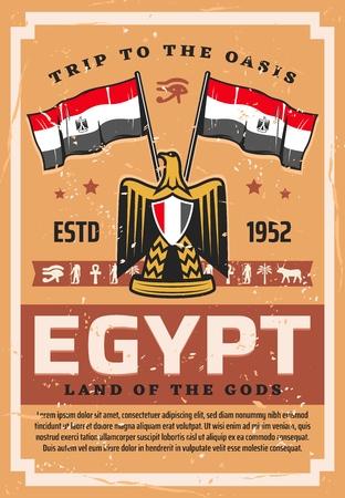 Voyage en Egypte, drapeau et emblème, armoiries avec faucon ou aigle. Symboles de pays égyptiens vectoriels, tourisme au Caire, Afrique. Oeil d'Horus et Anubis, croix copte et Ra, palmier et bœuf, aigle royal, phénix