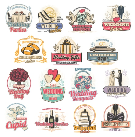 Marriage ceremony or wedding arrangement services icons. Party and salon, jewelry and gifts, limousine ordering and decoration, cake and bouquet. Groom and bride outfit shop badge vector isolated Standard-Bild - 114744716