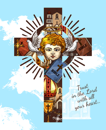 Christianity Catholic religion vector greeting card with Bible sayings. Angel and gold goblet on cross, church and Papas hat, pigeon and halo. Belief and faith poster with religious attributes in sky