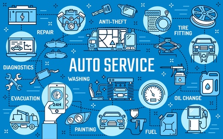 Auto repair service, car spare parts and tool vector design. Anti-theft and tire fitting, oil change and fuel, painting and evacuation, engine diagnostics and repair. Online order, control and payment