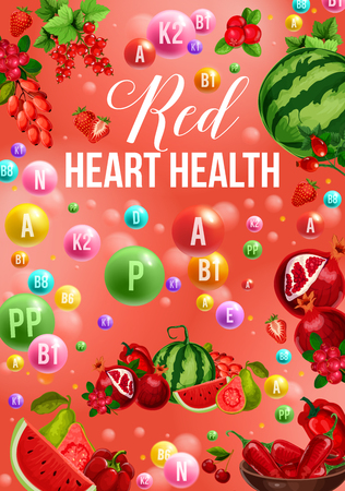 Color detox diet poster of red food day for health heart. Watermelon and pomegranate, strawberry and dogrose, cranberry and redcurrant, bell and chili pepper. Proper nutrition with vitamins vector