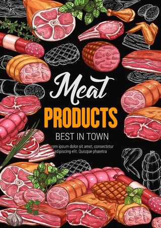Butchery shop poster with meat products. Sausage and bacon, gammon and steak, beef and ham, pork and chicken, leg and wing, salami and lamb. Tenderloin and sirloin, greenery or seasoning vector Vectores