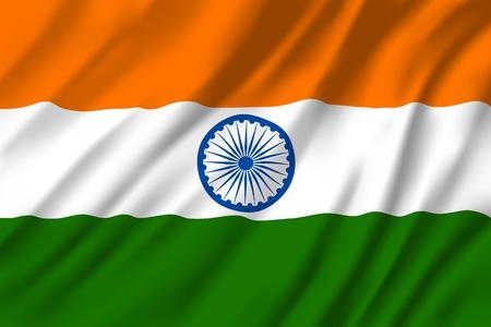Flagge von Indien, nationale drei Farben mit rundem Emblem in der Mitte. Heraldik-Republik-Landesschild mit Ashoka Chakra, 24-Speichen-Rad. Windige indische Textilflagge oder Banner für nationale Feiertagsgrüße Vektorgrafik