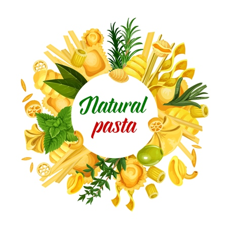 Italian natural pasta macaroni and spaghetti, fusilli and farfalle, rigatoni and ravioli, conchiglie and avemarie, route and gnocchi, tortellini in vector with herbs and spices. Cuisine of Italy 일러스트