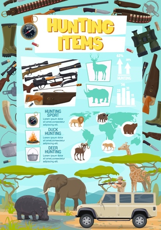 Safari hunting sport items poster. Gun and crossbow, knife and flashlight, binoculars and trap, kettle and bullets. Giraffe and elephant, hippo and lion, bear and goat, hunter with rifle in car vector Illustration