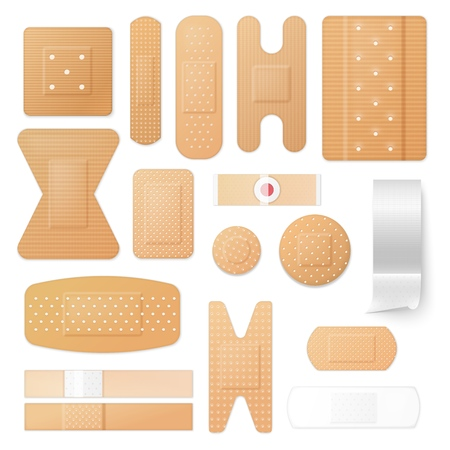 Isolated patches and adhesive plasters, medical treatment of skin injuries. Stock Illustratie
