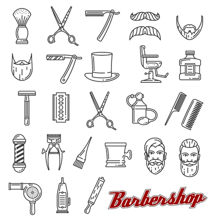 Barbershop outline line art icons. Beard and mustache, barber tools shaving razor or scissors, hairbrush and hair dryer. Vector of male beauty salon, hairdresser and coiffeur or haircutter service